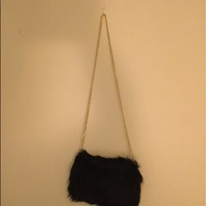 Handbags - Faux fur evening bag with gold chain